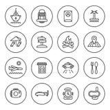 Outline Travel icon set. In circles on white Stock Photo