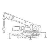Outline of truck-mounted crane, vector illustration. Hand-drawn outline of truck-mounted crane  on white background. Art vector illustration for your design Royalty Free Stock Photo