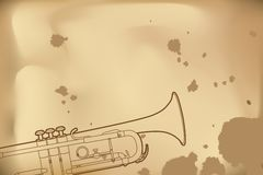Outline trumpet Royalty Free Stock Image
