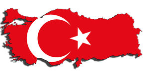 Outline of Turkey with the national flag Stock Photo