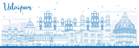 Outline Udaipur Skyline with Blue Buildings. Vector Illustration. Business Travel and Tourism Concept with Historic Architecture. Image for Presentation Banner Stock Photos