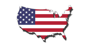 Outline of United States of America with USA flag. Outline of national boundary of United States of America filled with USA flag. Isolated on white background Stock Photos