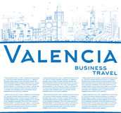 Outline Valencia Skyline with Blue Buildings and Copy Space. Royalty Free Stock Image
