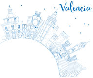 Outline Valencia Skyline with Blue Buildings and Copy Space. Royalty Free Stock Photography