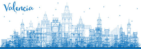 Outline Valencia Skyline with Blue Buildings. Stock Photography