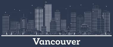 Outline Vancouver Canada City Skyline with White Buildings. Vector Illustration. Business Travel and Concept with Modern Architecture. Vancouver Cityscape with royalty free illustration