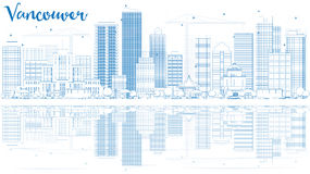 Outline Vancouver skyline with blue buildings and reflections. Vector illustration. Business travel and tourism concept with place for text. Image for Royalty Free Stock Images