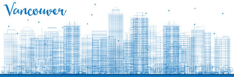 Outline Vancouver skyline with blue buildings. Stock Photo