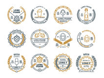 Outline vector beer emblems, symbols, icons, pub labels, badges collection. Outline vector beer emblems, symbols, icons, pub labels badges collection Stock Images