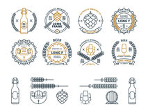Outline vector beer emblems, symbols, icons, pub labels, badges collection. and design elements. Outline vector beer emblems, symbols, icons, pub labels badges Royalty Free Stock Photos