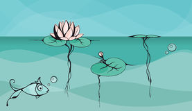 Outline vector drawing of lotus floating on the lake surface. Outline vector drawing of lotus floating on the lake surface with view of underwater part. Drawing Stock Photos