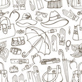 Outline Vector Female Accessories seamless pattern Royalty Free Stock Image