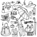 Outline Vector Female Accessories Set.Hand drowing Royalty Free Stock Images