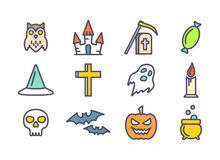 Outline vector icons set for Halloween Royalty Free Stock Images