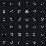 Outline vector icons for web and mobile. 36 Icons, 2 pixel stroke & 48x48 resolution Royalty Free Stock Photos