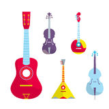 Outline Vector StringedBowed Musical Instruments. Outline vector stringed bowed musical instruments. Bright color Royalty Free Stock Photography