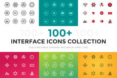 Outline vector UI technology icons set Royalty Free Stock Image