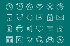 Outline vector UI user interface technology white Royalty Free Stock Images