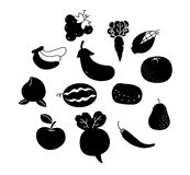Outline vegetables and fruits Stock Image