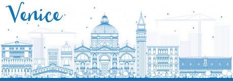 Outline Venice Skyline Silhouette with Blue Buildings. Stock Photo