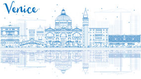 Outline Venice Skyline Silhouette with Blue Buildings. Royalty Free Stock Photos