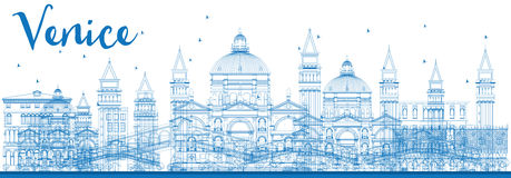 Outline Venice Skyline Silhouette with Blue Buildings. Royalty Free Stock Photo