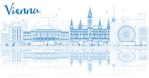 Outline Vienna Skyline with Blue Buildings and Reflections. Royalty Free Stock Image