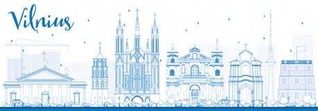 Outline Vilnius Skyline with Blue Landmarks. Stock Images