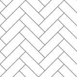 Outline vintage wooden floor herringbone parquet vector seamless pattern Stock Photos