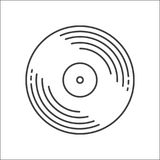 Outline Vinyl disc icon. Logo for web or app. Outline style. Disco music vinyl isolated on white background royalty free illustration