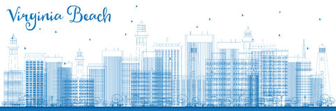 Outline Virginia Beach (Virginia) Skyline with Blue Buildings. Royalty Free Stock Images