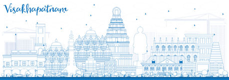 Outline Visakhapatnam Skyline with Blue Buildings. Stock Photos