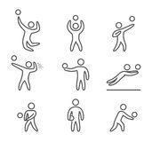 Outline volleyball icons set Stock Photo
