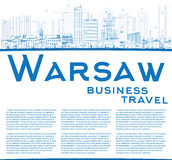 Outline Warsaw skyline with blue buildings and copy space. Stock Images