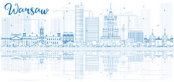 Outline Warsaw skyline with blue buildings and reflections. Royalty Free Stock Photos