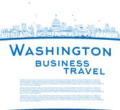 Outline Washington DC city skyline with copy space Stock Photography