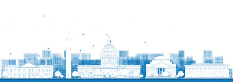Outline Washington DC city skyline. Royalty Free Stock Photography