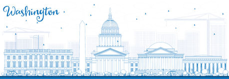 Outline Washington DC Skyline with Blue Buildings. Stock Images