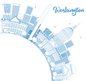 Outline Washington DC Skyline with Copy Space and Blue Buildings Stock Image