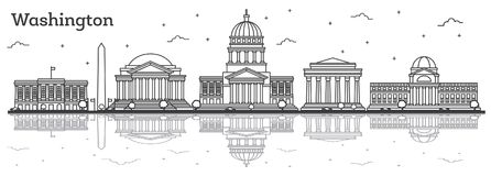 Outline Washington DC USA City Skyline with Modern Buildings and Royalty Free Stock Photos