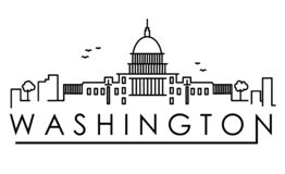 Outline Washington DC USA City Skyline with Modern Buildings Isolated. Vector Illustration. Washington DC Cityscape with Landmarks. Outline Washington DC USA royalty free illustration