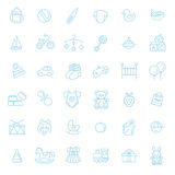 Outline web icon set. Baby toys, feeding and care Stock Photography
