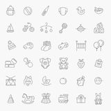 Outline web icon set. Baby toys, feeding and care Stock Images