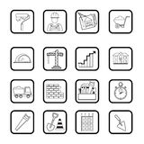 Outline web icon set. Building, construction vector tools Stock Image