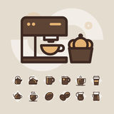 Outline web icon set - drink coffee, tea Stock Photo