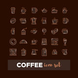 Outline web icon set - drink coffee, tea Royalty Free Stock Photography