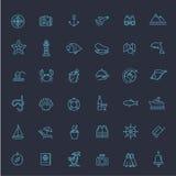 Outline web icon set - journey, vacation, cruise Stock Images