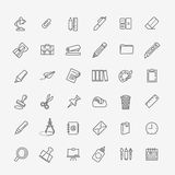 Outline web icon set - office stationery Royalty Free Stock Image