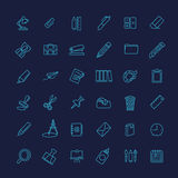 Outline web icon set - office stationery Royalty Free Stock Photos