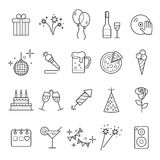 Outline web icon set - Party, Birthday, Holidays. Event and Celebration Outline Icons Royalty Free Stock Image